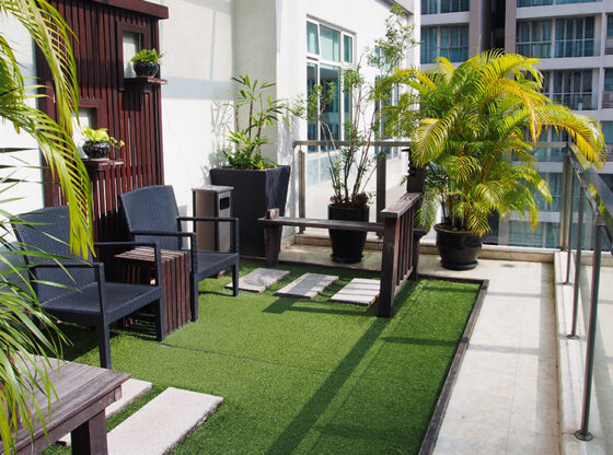 balcony with artificial grass